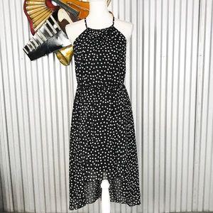 WHBM Black White Halter Polka Dot Dress